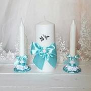Свадебные свечи в голубом цвете фото