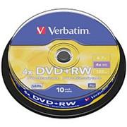 Оптический диск DVD плюс RW 4.7 Гб Verbatim 4-ск. в тубе 10шт. многократный фото