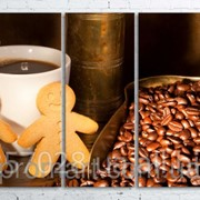 Модульна картина на полотні Кава. Зерна. Кавомолка код КМ100200(200)-089 фото