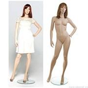 Манекен женский реалистичный телесный, с макияжем (парик отдельно), для одежды в полный рост, стоячий прямо с согнутой в локте левой рукой. MD-VOGUE фото