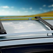 Багажник на крышу Ауди А6 (Audi A6) универсал 1997-2004, алюминиевые поперечины Fico на рейлинги. Цвет черный фото