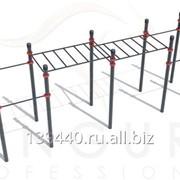 Классический турник, параллельные брусья, двойной рукоход, боковая лестница, лестница для подъема на рукоход и скамья для пресса ГТО-064 фото
