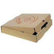 Коробка для пиццы 340х340х40 мм с печатью в 1 цвет гофрокартон бурый фото