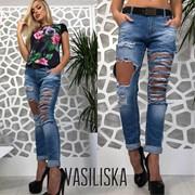 Женские крутые рваные джинсы с ремнем. Турция. ВВ-28-0518 фото