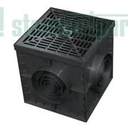 Комплект: дождеприемник пластиковый черный 30.30 c решеткой ячеистой пластиковой черной Артикул:08308-Ч фото