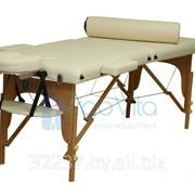 Складной массажный стол деревянный ErgoVita MASTER 67см+валик в съемной сумке (2-х секцион,кремовый) фото