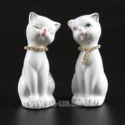 Фарфоровая фигурка / Кот и кошка / Стразы / 7,5 см / Белые n08189 фото