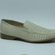 Туфли светлые летние мужские, натуральная кожа. Модель 5360203 фото