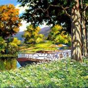 Пейзаж маслом на холсте виды Франции, река, лес, горы, баржа фото