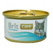 Консервы для кошек BRIT тунец-индейка, 80 г фото