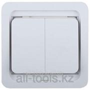 Выключатель Светозар Гамма двухклавишный, без подсветки, цвет белый, 10А/~250В Код:SV-54134-W фото