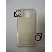 Накладка-бампер для Samsung Galaxy S5, прозрачный с золотистыми полосками фото