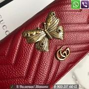 Женский Кошелек Gucci Гуччи с бабочкой на кнопке фото