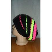 Женская шапка вязаная разноцветная фото