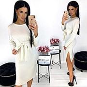 Однотонное женское платье из ангоры АА/-1298 - Белый фото
