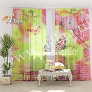 Бабочки в цветах арт.ТФТ3349-h275 v2 (145х275-2шт) фототюль (штора Шифон ТФТ) фото