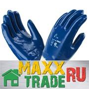 Перчатки х\б, покрытие ладони - НИТРИЛ, полный облив, манжет крага, синий. фото