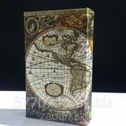 Книга сейф в деревянной обложке Карта первооткрывателей фото