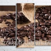 Модульна картина на полотні Кавові зерна у мішку код КМ100200(176)-090 фото