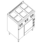 Плита электрическая 6-ти конфорочная Kogast с электрической духовкой на GN 2/1 + нейтральный шкаф ESK-T69/1-0 фото