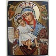 Изготовление икон писаных на заказ. Образ Пресвятой Богородицы «Достойно есть» фото