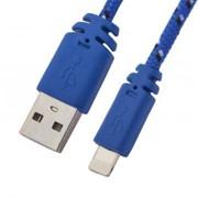 USB кабель «LP» для Apple iPhone/iPad Lightning 8-pin в оплетке (синий/черный/коробка) фото