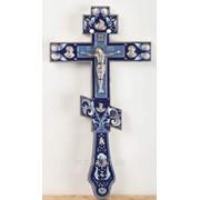 Крест напрестольный №3-7 гальванопластика никель эмаль №2 фото