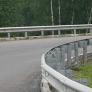 Металлическое дорожное ограждение (отбойный брус) фото