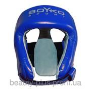 Шлем боксерский BOYKO-SPORT №2 кожа синий фото