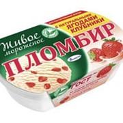 Мороженое пломбир ТАЛОСТО с натуральными ягодами клубники, 450г фото