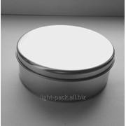 Банка жестяная круглая серебро фото