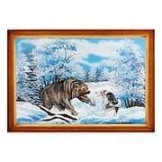 "Картина ""Медведь с собакой"" багет дерево 46х66 см фото"