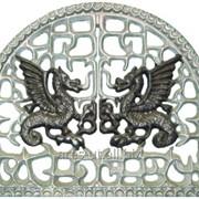 Облицовка камина с драконами, лошадками A3001 фото