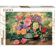 """Пазлы 1500 элементов, """"Цветы в вазе"""", (Степ Пазл) фото"""
