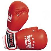 Перчатки для бокса и кикбоксинга Top Ten Fight кожа, иск.кожа,липучка (топ тен) фото