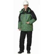 Куртка Вега длинная, зелёная с чёрным фото