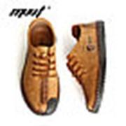 Туфли мужские лоферы MVVT черные, шнурок фото