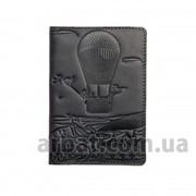 Обложка для паспорта Adventure черный Кожа фото