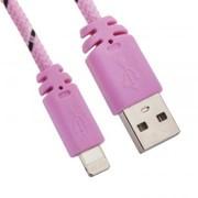 USB кабель «LP» для Apple iPhone/iPad Lightning 8-pin в оплетке (розовый/черный/европакет) фото