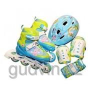 Набор: роликовые коньки, защита, шлем; размер 34-37, TM Лунтик фото