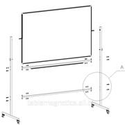 Магнитная школьная доска мел/маркер, 2м х 1м, поворотная двухсторонняя фото