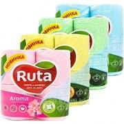 Туалетная бумага рулонная Ruta Аroma, 2- х слойная, 4 рулона, ассорти фото