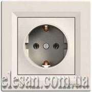 Asfora EPH2900123 розетка с заземлением кремовая фото