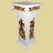 Подставка с резьбой под мощевик (цвет белый белый +патина золото, МДФ) фото