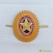 Кокарда РА металлическая малая золотая ФМ-11 фото