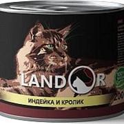 Landor 200г конс. Влажный корм для взрослых кошек Индейка и кролик фото