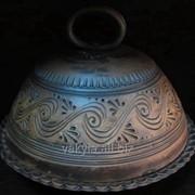 Глиняная хлебница с декором, сувенирная хлебница из глины (керамика) фото