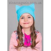 Детская шапка с ушками в мерцающих стразах фото