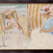 Картина Две молодые женщины на пляже в Сен-Жан-де-Мон, Лебаск, Анри фото