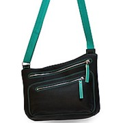 """Кожаная сумка """"Хейлин"""" (чёрный с голубым) фото"""
